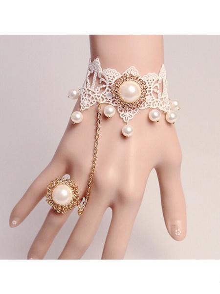 Sweet Lolita Bracelet White Lace Royal Lolita Bracelet With Pearls