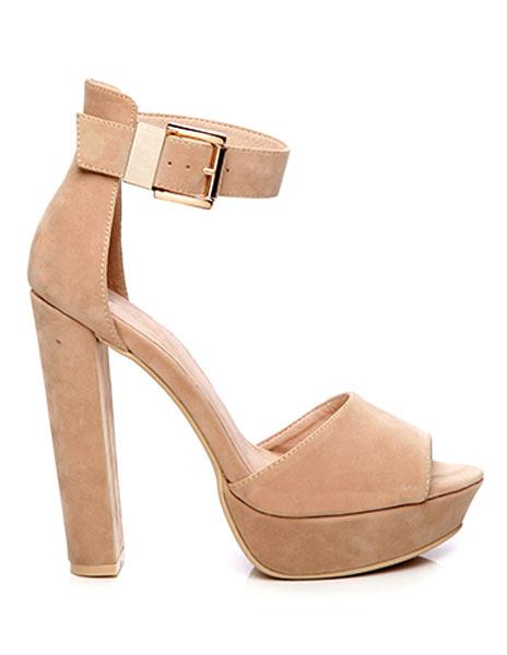 Black Platform Sandals Women's Peep Toe High Heel Sandals Suede Ankle Strap Chunky Heel Platforms Sh