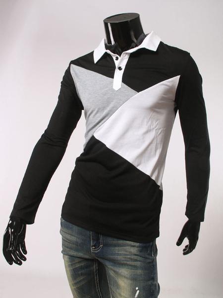 Men's Polo Shirt Black Long Sleeve Color Block Cotton T-shirt фото