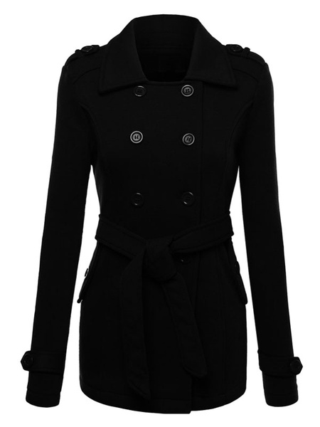 Women's Pea Coat Double Breasted Turndown Collar Burgundy Belted Coat With Pockets фото