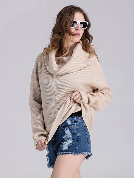 Milanoo / Aprikose Pullover Pullover Plus Size Strickwaren Frauen Rollkragen Langarm Casual Stricktop