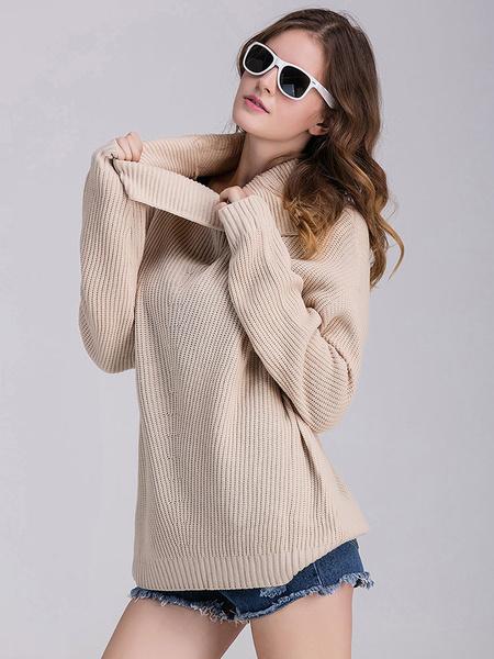 Apricot Pullover Sweater Plus Size Knitwear Women's Turtleneck Long Sleeve Casual Knit Top