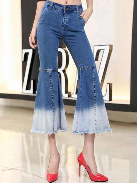 Damen Denim Jeans zwei Ton Gummizug in der Taille Flare Jeans mit Quasten