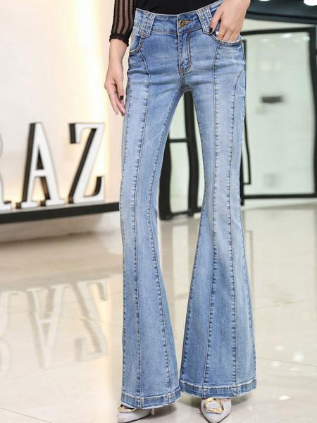Women's Denim Jeans Light Blue Shaping Flare Jeans фото