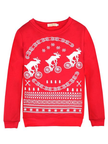 Women's Christmas Sweatshirt Deer Snowflake Printed Crewneck Cotton Sweatshirt