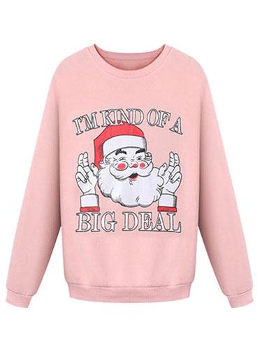Christmas Women's Sweatshirt Santa Printed Round Neck Cotton Sweatshirt