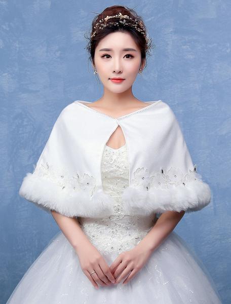Wool Bridal Shawl Faux Fur Wedding Wrap With Flower Rhinestone фото