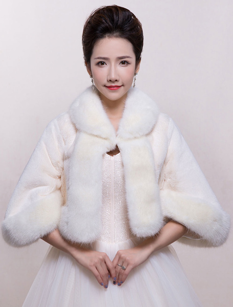 Winter Wedding Wrap Faux Fur Bridal Shrug Long Sleeve Bridal Wedding Jacket