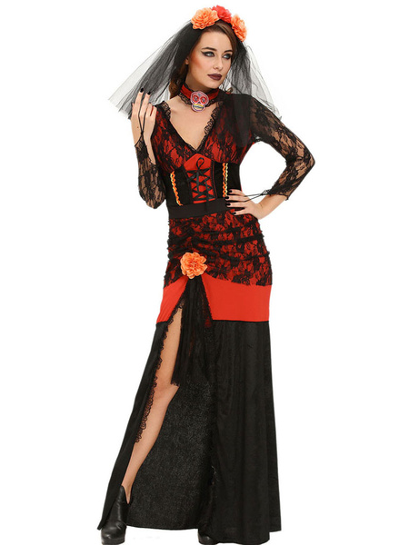 Day Of The Dead Costume Halloween Dead Diva Costume Medieval Two Tone Long Sleeve Split Dress With H фото