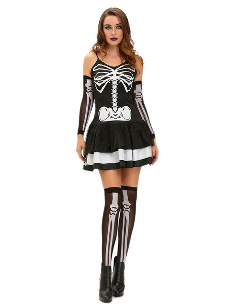 Day Of The Dead Costume Skeleton Dress Costume Halloween Skeleton Bone Fancy Dress Costumes For Wome