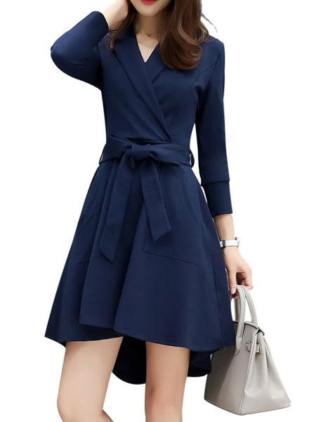 Long Sleeve Dress A-line Women's High Low Dark Navy Flare Wrap Dress