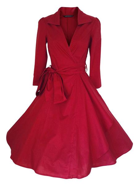 Women's Vintage Dress Long Sleeve A-line Flare Retro Dress With Sash