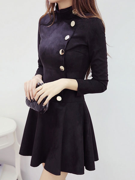 Suede Skater Dress Long Sleeve Women's Pleated A-line Flare Dress