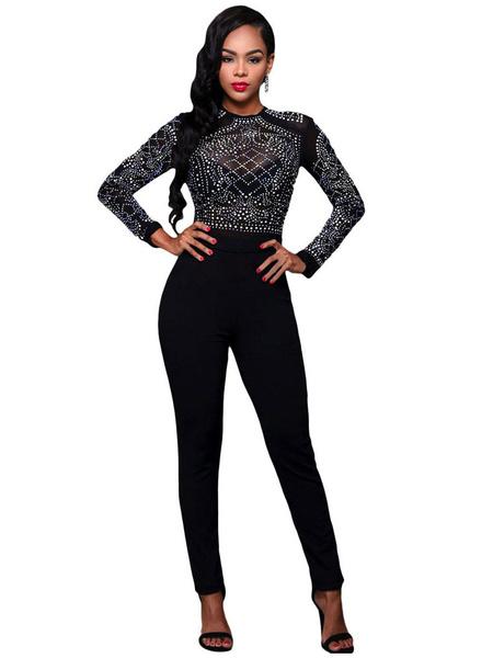 Women's Black Jumpsuit Long Sleeve Beaded Round Neck Skinny Leg Jumpsuit