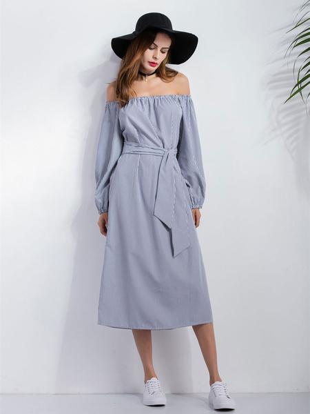 Long Sleeve Dress Off The Shoulder Women's Side Slit Striped Wrap Dress фото