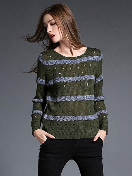Женская пуловер свитер двухцветный в полоску с круглым вырезом длинный рукав вырез свитер