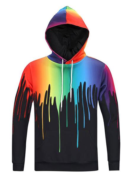 Stampato con cappuccio Long Sleeve 3D uomo stampa Ombre Hooded Sweatshirt