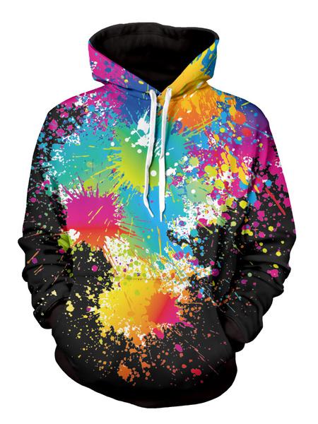 Мужской пуловер свитшот многоцветный 3D печать с длинным рукавом балахон
