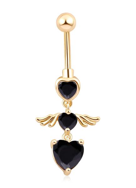 Belly Button Rings Copper Rhinestone Heart Pattern Body Piercing Jewelry Milanoo