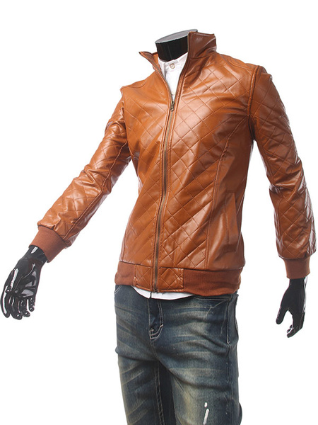 Brown Men's Jacket PU Leather Zip Up Checkered Fit Moto Jacket фото
