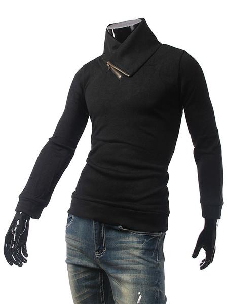 Black Knit Sweater Men's Long Sleeve Oblique Zipper Fit Pullover Sweater фото