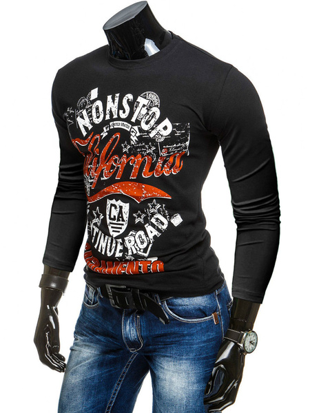 Printed Black T-shirt Men's Long Sleeve Round Neck Cotton T-shirt