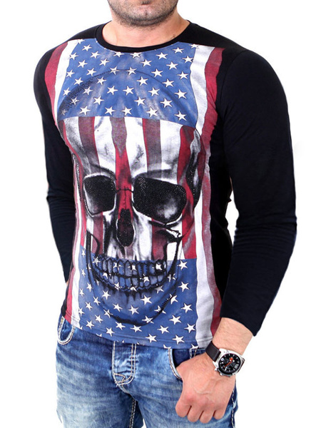 Men's Black T-shirt Long Sleeve Skull Printed Round Neck Cotton T-shirt фото