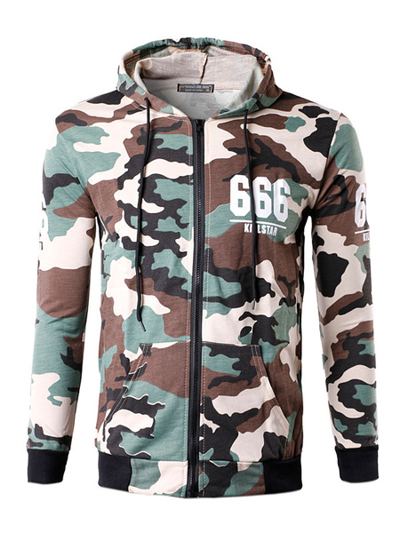 Men's Camo Hoodie Zip Up Cotton Long Sleeve Slim Fit Hooded Jacket фото