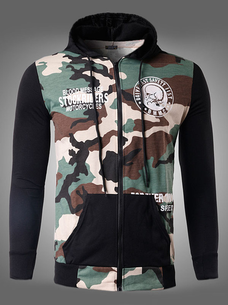 Men's Cotton Hoodie Camo Skull Print Zip Up Long Sleeve Hooded Jacket With Pocket