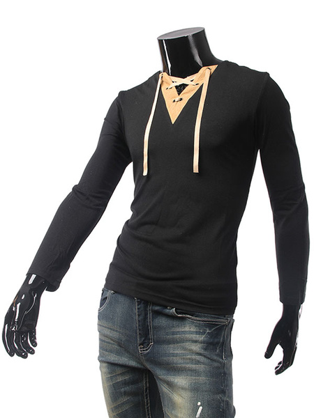 Men's T Shirt Cotton V-neck Long Sleeve Drawstring Slim Fit Top фото