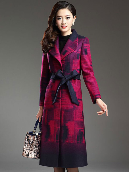 Long Wool Coat Printed Women's Long Sleeve Belted Coat With Sash фото