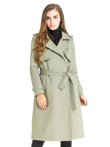 Women's Trench Coat Double Breasted Shoulder Strap Back Cape Fit Belted Coat With Sash фото