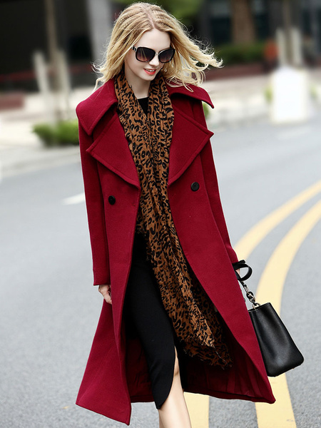 Burgundy Wool Peacoat Women's Double Breasted Fit Long Winter Coat Milanoo
