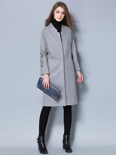 Grey Wool Coat Women's Sleeve Embroidered Casual Cocoon Coat For Winter фото