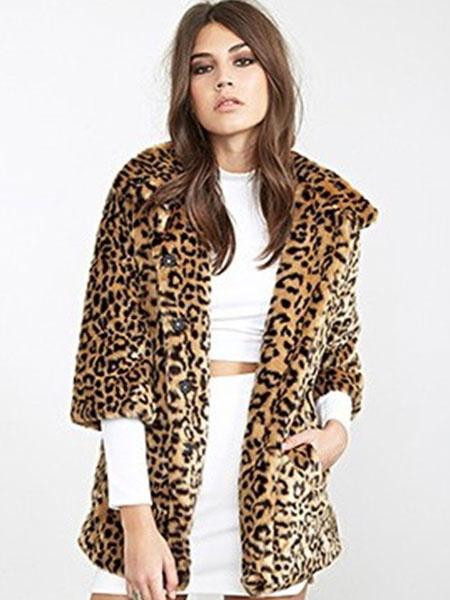 Faux Fur Coat Leopard Print Turndown Collar Half Sleeve Oversized Winter Coat фото
