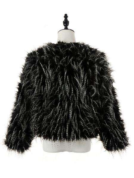 Milanoo / Negro cuello redondo manga larga chaqueta de piel falsa mujeres abrigo Slim Fit abrigo