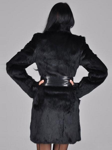 Milanoo / Chaqueta de piel falsa capa manga larga negro lujoso abrigo de invierno abrigo mujer con faja