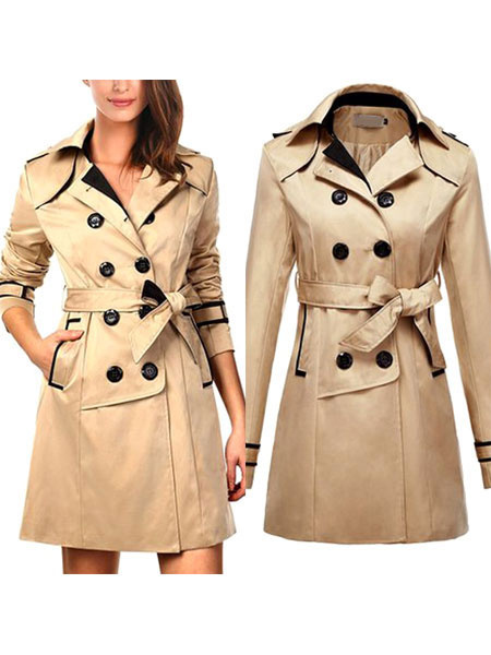 Women's Trench Coat Khaki Turndown Collar Long Sleeve Double Breasted Wrap Coat With Sash