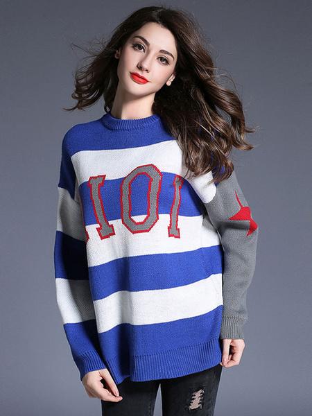 Женская пуловер свитер многоцветный полосатый шею длинным рукавом вязать топ