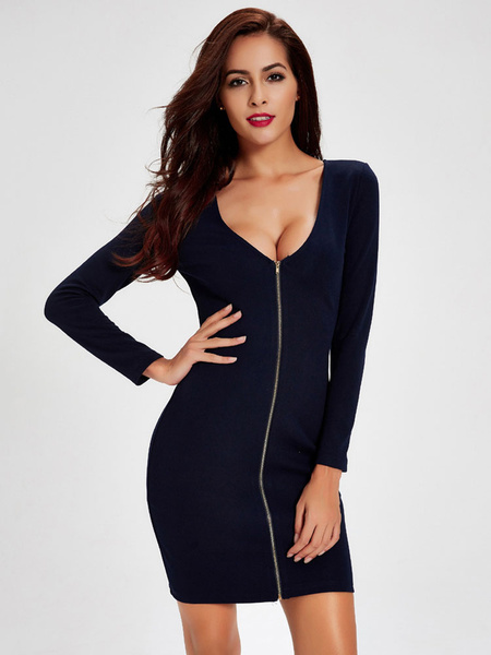 Women's Bodycon Dress Deep Blue V Neck Long Sleeve Zip Up Shaping Slim Fit Sheath Dress