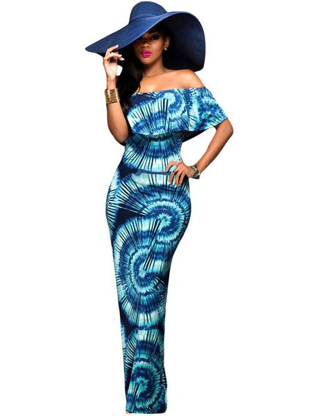Boho Maxi Dress Deep Blue Printed Off The Shoulder Butterfly Short Sleeve Long Dress