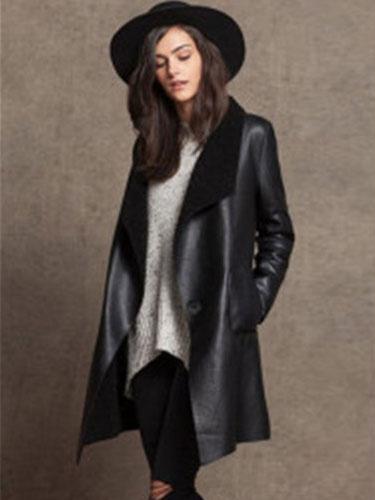 Нагрудные шерсть пальто черный овечьей шерсти негабаритных длинный рукав кожа Сплайсированные Женские пальто куртки пуховики