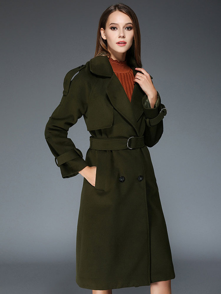 Women's Winter Coat Hunter Green Notch Collar Long Sleeve Double Breasted Wrap Coat With Pocket