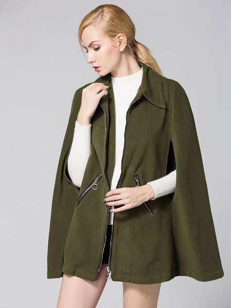Poncho Cape Coat Women's Zip Up Oversize Gabardine Hunter Green Coat фото