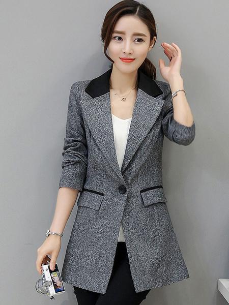 Women's Grey Blazer Notch Collar Long Sleeve Slim Fit Casual Blazer With Pockets фото