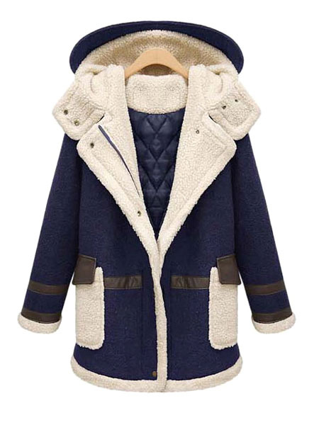Women's Winter Coat Two Tone Hooded Long Sleeve Zip Up Women's Coat With Pockets фото