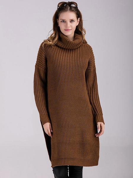 Женская пуловер свитер темно-коричневый высокий воротник длинный рукав вязаный свитер с разрезом