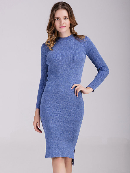 Blue Sweater Dress Round Neck Long Sleeve High Low Slim Fit Knit Bodycon Dress For Women