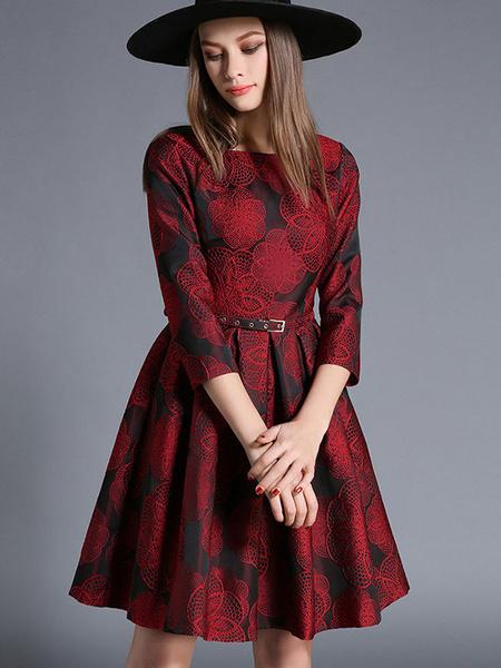 Burgundy Skater Dress Jacquard 3/4 Length Sleeve Pleated Flare Dress With Belt фото