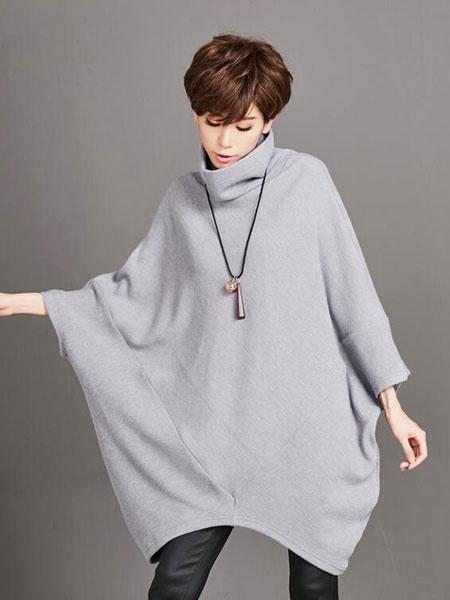 Plus Size T-shirt High Collar Batwing Women's Gray Loose Shirt фото